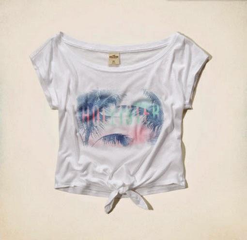faa3a95701 Blusa Branca Estampada Hollister (emma Wood T-shirt) Org.